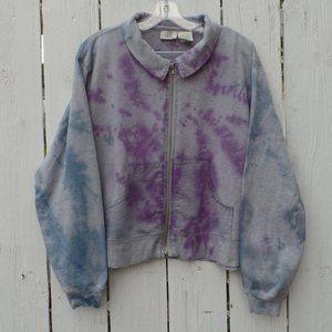 Tie Dye Sweatshirt Jacket Women's Large Zip Front
